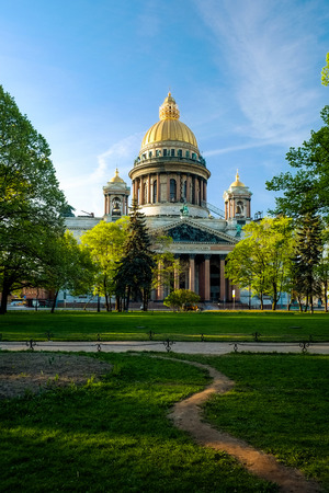 isaac: Isaac Cathedral and park in front of him in morning Editorial