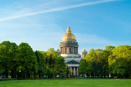 isaac: Isaac Cathedral and lawn in front of him in morning Stock Photo