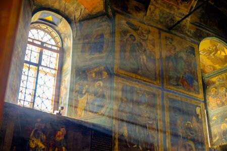 assumption: Tikhvin monastery cathedral of the assumption interior with fresco Editorial