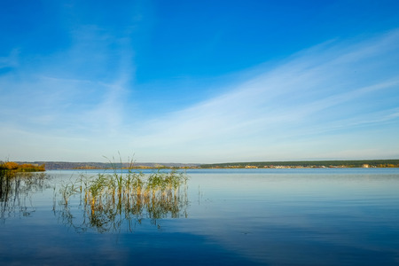 kama: River Kama in early morning in autumn in Russia Stock Photo