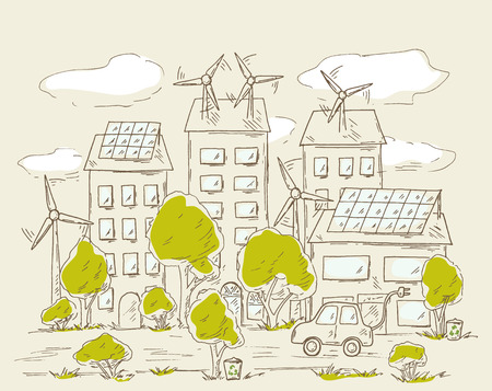 panels: Green city. Alternative energy sources, eco friendly technology, wind generator, solar panels, electric car, recycling. Eco city concept.