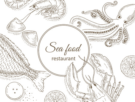 sea view: Seafood and fish background. Seafood restaurant menu design cover. Sea food and fish flyer. Fresh fish template. Top view seafood frame. Seafood hand drawn vector illustrations. Seafood gourmet card