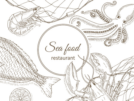 Seafood and fish background. Seafood restaurant menu design cover. Sea food and fish flyer. Fresh fish template. Top view seafood frame. Seafood hand drawn vector illustrations. Seafood gourmet card