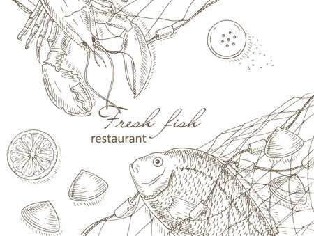 top menu: Seafood and fish net background. Seafood restaurant menu design cover. Sea food and fish flyer. Fresh fish template. Top view seafood frame. Seafood hand drawn vector illustrations. Seafood gourmet