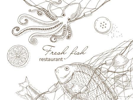 Zeevruchten en vis netto achtergrond. Visrestaurant menu design dekking. Zeevruchten en vis flyer. Verse vis template. Bovenaanzicht zeevruchten frame. Seafood handgetekende vector illustraties. gourmet Seafood