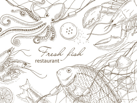 mariscos: Mariscos y pescados Fondo neto. Restaurante de mariscos cubierta del diseño de menú. mariscos y pescados volante. plantilla de pescado fresco. Marco superior marisco vista. Mariscos dibujado a mano ilustraciones de vectores. pescados y mariscos gourmet