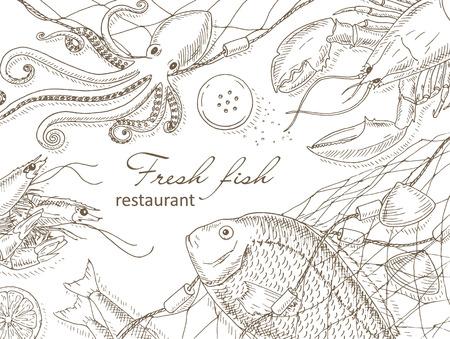 speisekarte: Meeresfrüchte und Fisch net Hintergrund. Fischrestaurant Menü-Design-Abdeckung. Meeresfrüchte und Fisch-Flyer. Frischer Fisch Vorlage. Draufsicht Meeresfrüchte Rahmen. Meeresfrüchte Hand Vektor-Illustrationen gezeichnet. Meeresfrüchte Gourmet