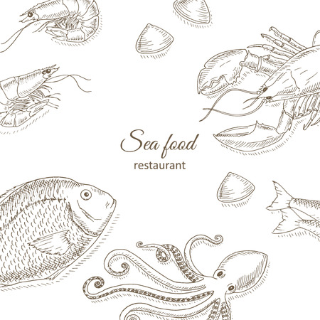 top menu: Seafood and fish background. Seafood restaurant menu design cover. Sea food and fish flyer. Fresh fish template. Seafood hand drawn vector illustrations. Seafood gourmet card. Top view seafood frame
