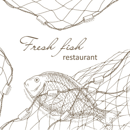 fishnet: Fish caught in the net. Fish and fishing net background. Restaurant menu design cover. Fishing flyer. Big fish and fishnet template. Fish hand drawn vector illustrations. Fish net card. Fishery frame Illustration