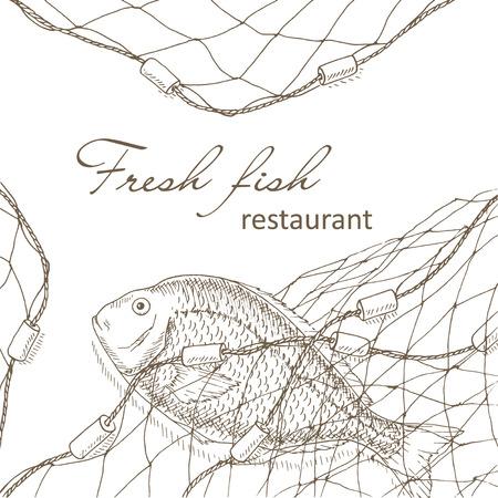 redes de pesca: Los peces capturados en la red. Peces y la pesca Fondo neto. menú del restaurante diseño de la cubierta. volante de pesca. Los peces grandes y la plantilla de rejilla. mano dibuja peces ilustraciones de vectores. tarjeta de red de pesca. marco de la pesca Vectores