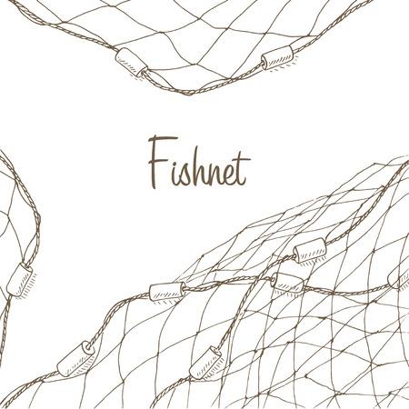 Fischernetz Hintergrund. Fischnetz-Flyer. Netzs Vorlage. Fischernetz Hand Vektor-Illustrationen gezeichnet. Fischnetz-Karte. Fischereirahmen mit Netz. Net für die Fischerei Rahmen