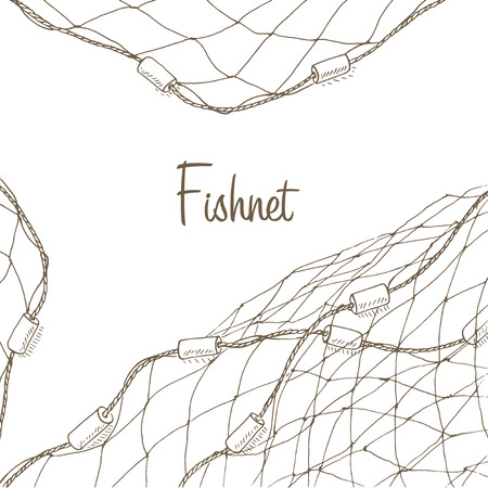 Fishing net background. Fish net flyer. Fishnet template. Fishing net hand drawn vector illustrations. Fish net card. Fishery frame with net. Net for fishing frame Vettoriali