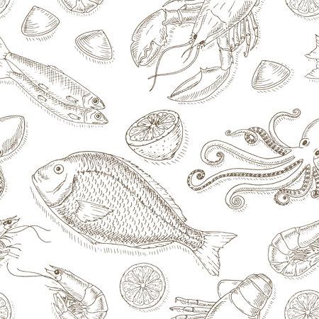 mariscos: Mariscos y pescados conjunto. Mariscos dibujado a mano elementos. Productos del mar y las ilustraciones del bosquejo de pescado. doodle de pescado fresco. Mariscos del vector dibujado a mano. Mariscos gourmet.Top programar una vista de marisco.