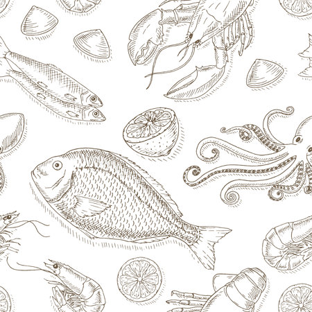 seafood dinner: Seafood and fish set. Seafood hand drawn elements. Sea food and fish sketch illustrations. Fresh fish doodle. Seafood hand drawn vector. Seafood gourmet.Top view seafood set.