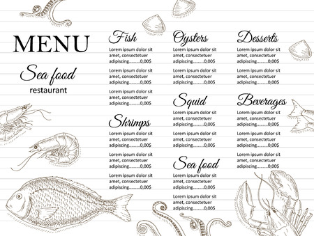 Restaurant-Menü-Design. Cafe Menüabdeckung. Meeresfrüchte-Menü-Flyer. Menü Broschüre. Lebensmittel-Vorlage. Menü-Layout Fisch und Meeresfrüchte Menü Design. Menü für Snackbars mit Hand gezeichneten Vektorillustrationen.