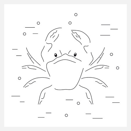 swimming underwater: Crab flat icon. Seafood. Crab swimming underwater. Background design with crab. Linear vector illustrations with crab.