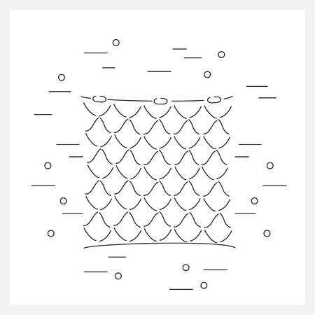 backgrouns: Net flat icon. Fishing equipment. Backgrouns design with fishing net. Linear vector illustrations with fishing net. Illustration