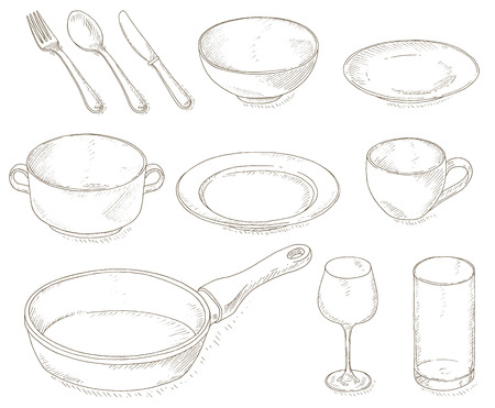 dishes set: Empty dishes set. Kitchen utensil sketch. Dinnerware: plates, bowl, cup, spoon, fork, knife, glass, wineglass, pan. Kitchenware and cutlery hand dawn illustration. Restaurant tools doodles collection