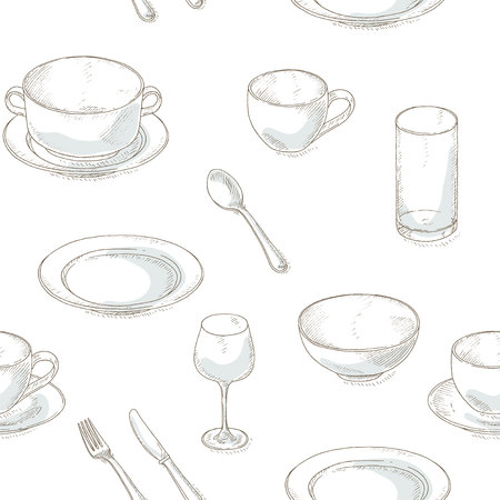 dinnerware: Dishes seamless pattern. Kitchen utensil sketch wallpaper. Dinnerware: plates, bowl, cup, spoon, fork, knife, glass, wineglass. Kitchenware and cutlery hand dawn illustration. Illustration