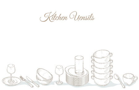 Stack empty plates, bowls and cups. Restaurant menu cover card. Tableware on shelf. Dishes. Dinnerware: plate, cup, bowl, spoon, fork, knife, glass. Kitchenware and cutlery hand dawn illustration
