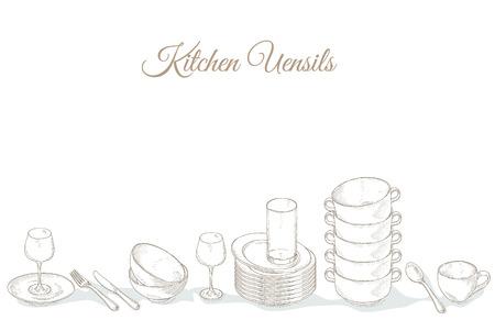 Stapel lege borden, schalen en bekers. Restaurant menudekking kaart. Servies op de plank. Gerechten. Servies: bord, beker, kom, lepel, vork, mes, glas. Keukengerei en bestek met de hand dageraad illustratie