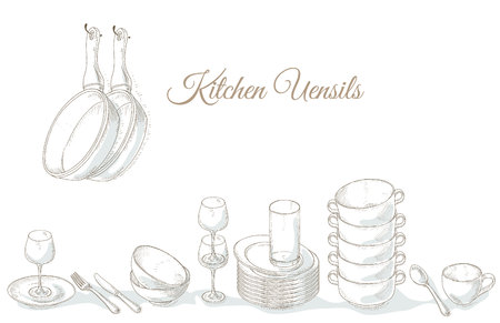 Stack empty plates, bowls and cups. Restaurant menu cover card. Tableware on shelf. Dishes. Dinnerware: plate, cup, bowl, spoon, fork, knife, glass. Kitchenware and cutlery hand dawn illustration Vettoriali