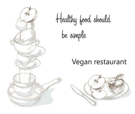Vegan menu cover concept. Vegetarian food cafe banner. Idea of health food hand drawn illustration. Organic food. Vegetarian food cooking school. The brochure about the benefits of vegan food