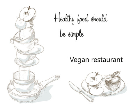 Vegan menu cover concept. Vegetarian food cafe banner. Idea of health food hand drawn illustration. Organic food. Vegetarian food cooking school. The brochure about the benefits of vegan food