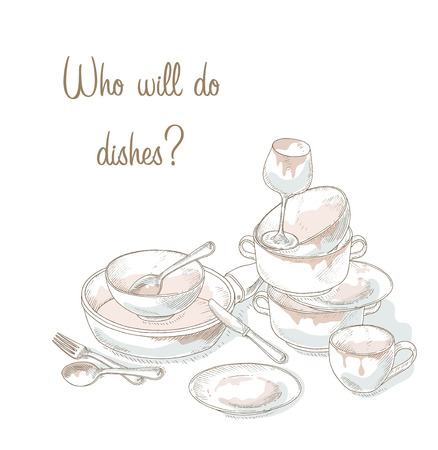 untidy: Stack dirty dishes. Household illustration. Kitchen utensils need a wash. Sketch of dirty and empty dishes. Hand drawn heap dirty kitchenware and dishes. Messy plate, cup, bowl, spoon, fork, knife. Illustration