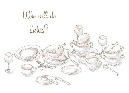 Apilar los platos sucios. Ilustración de la casa. utensilios de cocina necesitan un lavado. Bosquejo de platos sucios y vacíos. Dibujado a mano montón utensilios de cocina y vajilla sucia. Desordenado plato, taza, tazón, cuchara, tenedor, cuchillo. Ilustración de vector