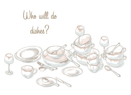 messy kitchen: Stack dirty dishes. Household illustration. Kitchen utensils need a wash. Sketch of dirty and empty dishes. Hand drawn heap dirty kitchenware and dishes. Messy plate, cup, bowl, spoon, fork, knife. Illustration