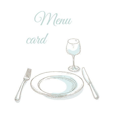 dishes set: Empty plate, wineglass, fork and knife. Tableware sketch. Invitation to dinner party. Restaurant menu cover card. Dishes set. Dinnerware: plate, fork, knife, wineglass. Illustration