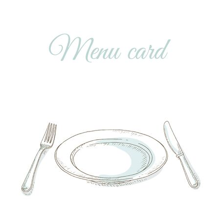 dinner menu: Empty plate, fork and knife. Tableware. Invitation to dinner party. Restaurant menu cover card. Dishes set. Dinnerware: plate, fork, knife. Kitchenware and cutlery hand dawn illustration. Sketch Illustration