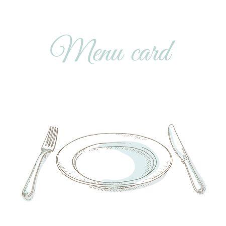 Lege plaat, vork en mes. Serviesgoed. Uitnodiging voor een diner partij. Restaurant menudekking kaart. Gerechten stellen. Servies: plaat, vork, mes. Keukengerei en bestek met de hand dageraad illustratie. Schetsen