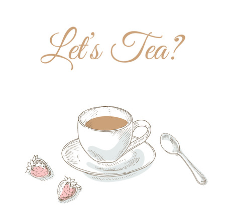 bar ware: Cup of tea. Tea time. Tableware. Cafe menu cover card. Dishes set.  Kitchenware and cutlery hand dawn illustration. Sketch
