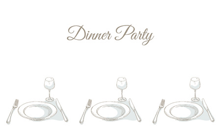 dinner party: Invitation to a dinner party. Tableware for dinner party. Restaurant menu cover card. Dinnerware: empty plate, wineglass, fork, knife. Kitchenware and cutlery hand dawn illustration. Sketch
