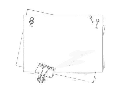 free place: Empty paper sheets mockup. Mockup with pinned paper. Paper hand drawn illustration mockup. Paper sheets with free place for you illustrations aor message. Top view drawing paper sheets.
