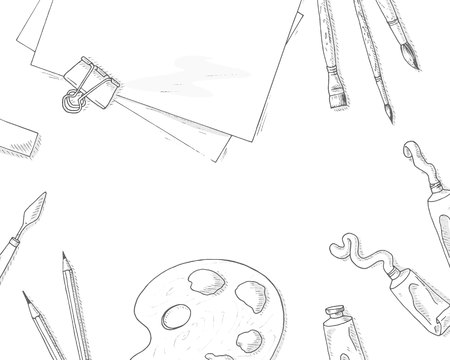 Art tools background. Artist creative quipment sketch: brushes, paper sheet, pencil and paints. Hobby and leisure hand drawn illustration. Paint and draw banner. Creative top view drawing vector. Illustration