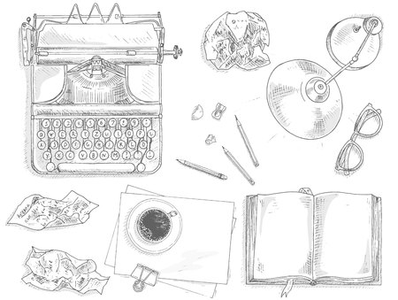antique table: Vintage journalist set with vintage typewriter machine. Journalist equipment top view illustration. Nostalgia sketch. Hand draw journalism concept with: crumpled paper, table lamp, glasses and coffee