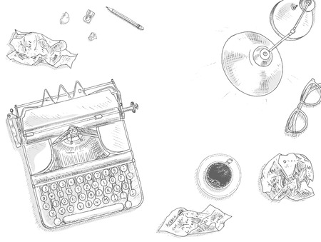 Antique typewriter background. Vintage typewriter machine. Journalist equipment top view illustration. Nostalgia sketch. Hand draw journalism concept with: crumpled paper, table lamp, glasses and tea Vettoriali