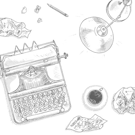 typewriter key: Antique typewriter background. Vintage typewriter machine. Journalist equipment top view illustration. Nostalgia sketch. Hand draw journalism concept with: crumpled paper, table lamp and  coffee