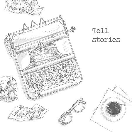 Antique typewriter background. Vintage typewriter machine. Journalist equipment top view illustration. Nostalgia sketch. Hand draw journalism concept with: crumpled paper, glasses and tea Vettoriali