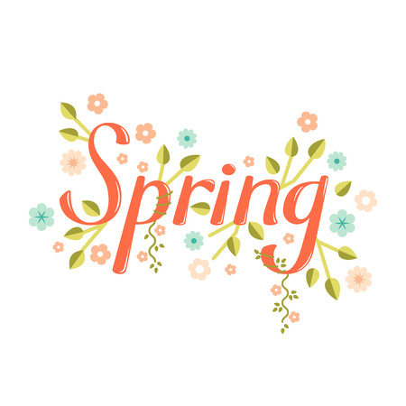buterfly: Spring vector lettering. Spring lettering isolated on white background. Text vector illustration. Spring word  and flowers. Season greeting poster. Illustration