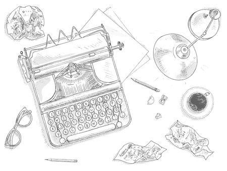pencil and paper: Antique typewriter background. Vintage typewriter machine. Journalist equipment top view illustration. Nostalgia sketch. Hand draw journalism concept with: crumpled paper, table lamp, glasses and tea Illustration