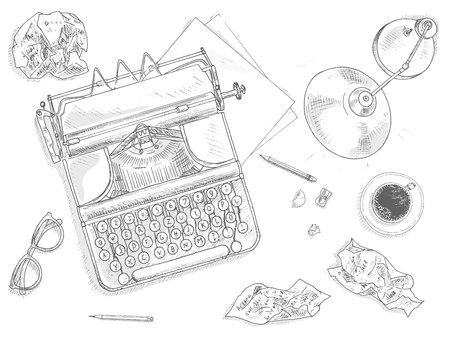 nostalgia: Antique typewriter background. Vintage typewriter machine. Journalist equipment top view illustration. Nostalgia sketch. Hand draw journalism concept with: crumpled paper, table lamp, glasses and tea Illustration