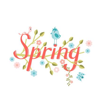 buterfly: Spring vector lettering. Spring lettering isolated on white background. Text vector illustration. Spring word, flowers, worm. bird and butterfly. Season greeting poster.