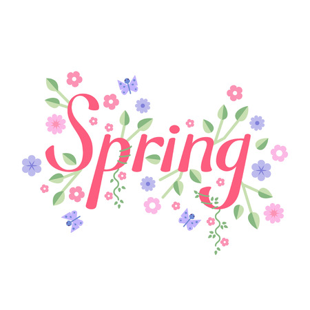 buterfly: Spring vector lettering. Spring lettering isolated on white background. Text vector illustration. Spring word, flowers and butterfly.