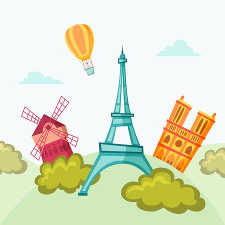 moulin: Paris landmark. Travel flat illustration. Paris famous buildings background. Cityscape. France tourist set. Architecture of Paris: Moulin Rouge, Eiffel, Tower, Notre-Dame.
