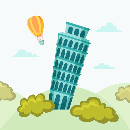 leaning tower: Leaning tower of Pisa. Pisa landmark. Travel flat illustration. Rome famous buildings background. Cityscape with Leaning tower of Pisa.