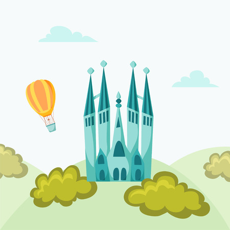 basilica: Barcelona andmark. Travel flat illustration. Spain famous buildings background. Cityscape with Gaudi Basilica
